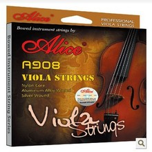 AliceA908 Silver Wound Viola Strings Nylon Core Aluminum Alloy Wound Gold-Plated Ball-End