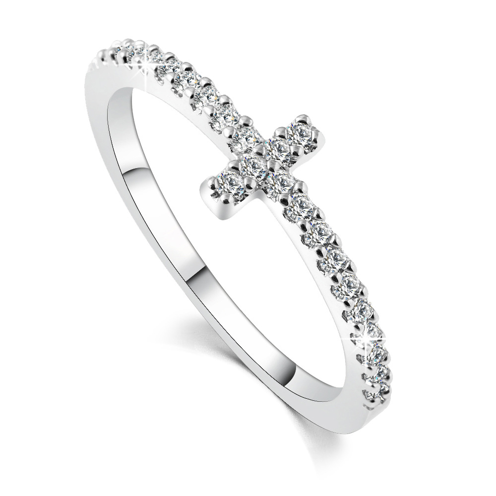 Minimalist Crystal Cross Finger Rings Men Murano Christian Silver Color Ring  Women Cubic Zircon Wedding Ring