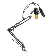 BM 800 KIT проводной конденсаторный звуковой микрофон с подставкой + металлическое амортизирующее крепление + Ветровое стекло для записи ПК/хора/трансляции