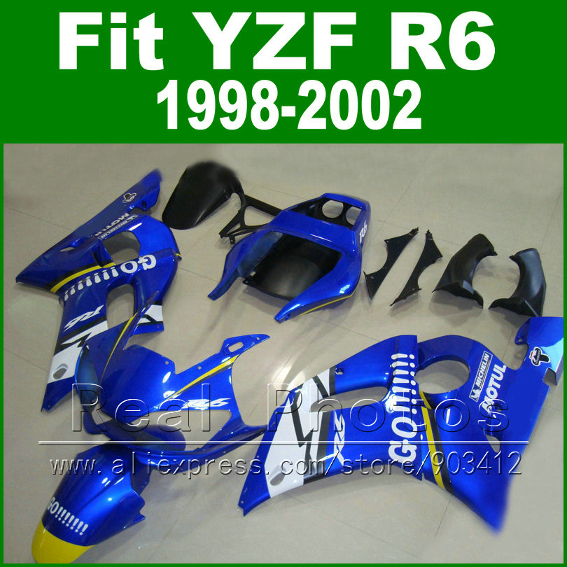 7 gifts plastic  parts for YAMAHA R6 fairing 1998 1999 2000 2001 2002 blue and  matte black  Fit  YZF R6 fairings 1998-2002