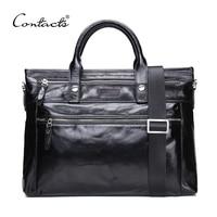 CONTACT S 2017 Business Men Briefcase Shoulder Bag Oil Wax Leather Messenger Bags Computer Laptop Handbag