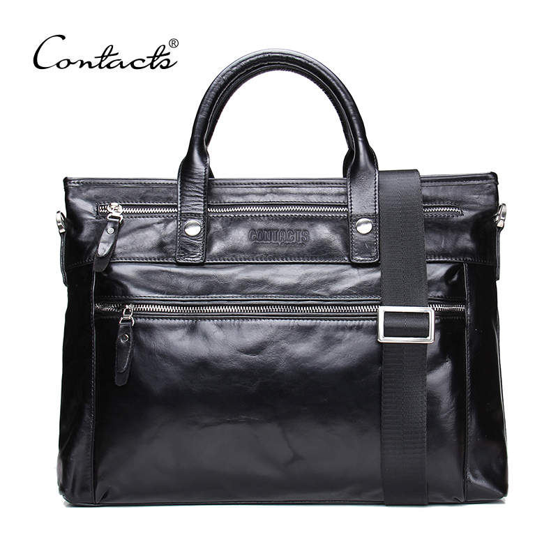 CONTACT'S 2018 Business Men Briefcase Shoulder Bag Oil wax Leather Messenger Bags Computer Laptop Handbag Bag Men's Travel Bags