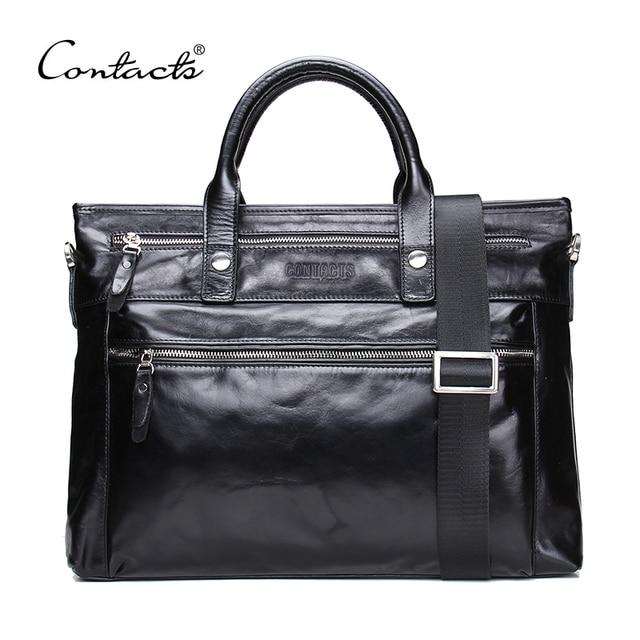 CONTACT'S 2018 Business Men Briefcase Shoulder Bag Oil wax Leather Messenger Bags Computer Laptop Handbag Bag Men's Travel Bags