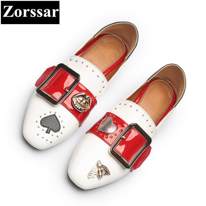 {Zorssar} women Fashion pumps square toe high heels Casual soft leather slip-on Leisure low heel shoes woman shoes size 33-43 gold chain party 2017 spring summer casual shallow slip on square toe bling square heels women pumps free ship mujer pantufa