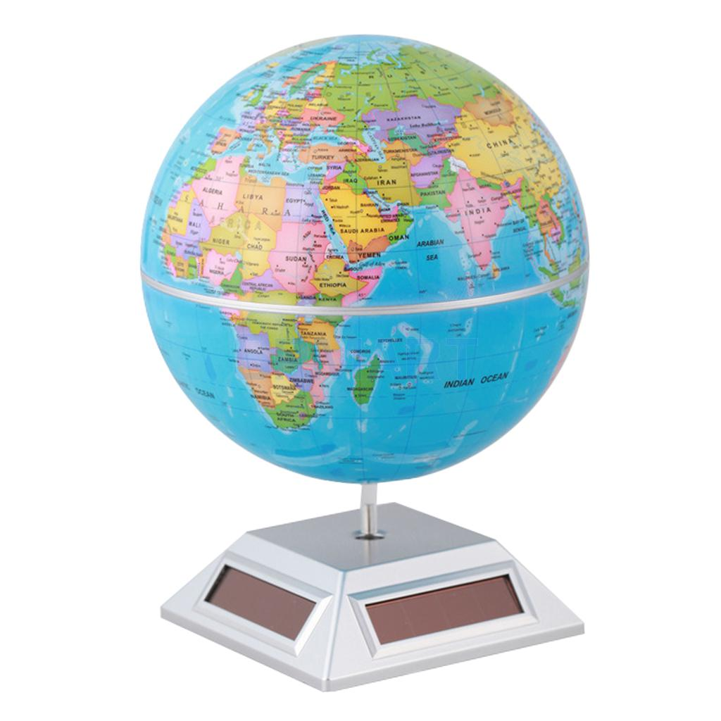US $14 44 21% OFF Solar Powered Self Rotating World Globe Geography Atlas  Toy Home Office Book Desk Ornament Student Kids Educational Toy-in Solar