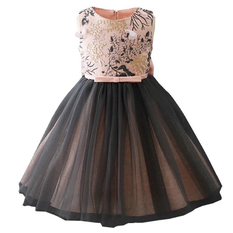 2018 summertime Girls Dress Baby applique dress embroidered high quality banquet princess dress Baptism birthday dress