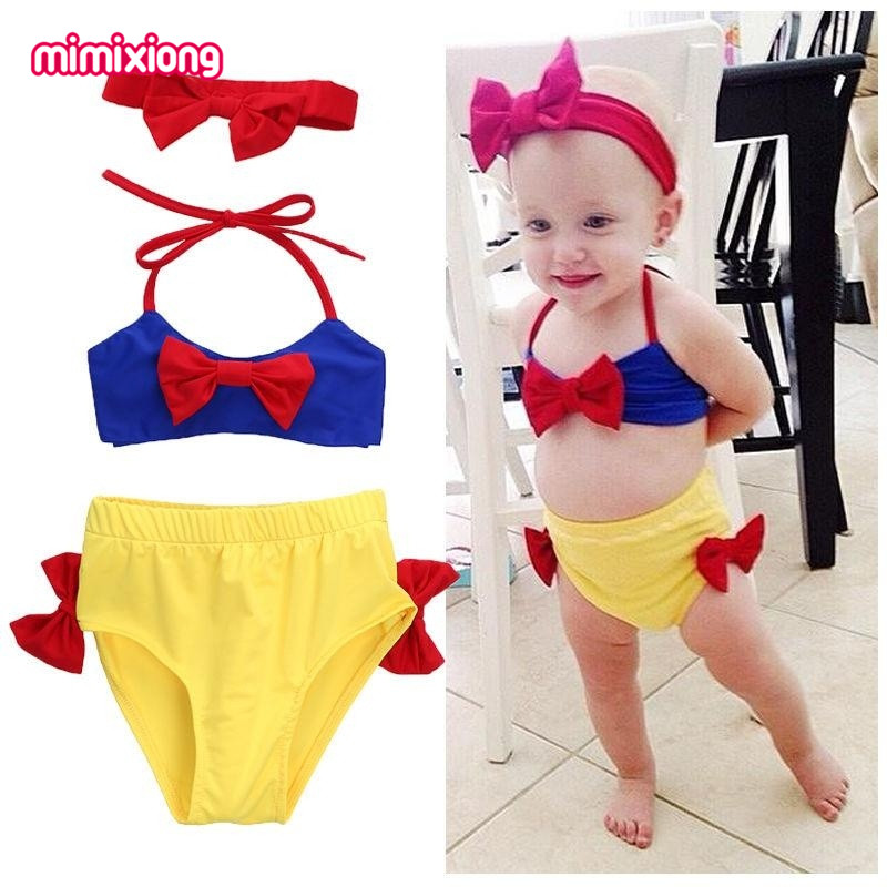 Snow White Baby Girls Cute Bikini with Headband Children 2Pcs Swimwear Summer Cartoon Style Kids Bathing Suits Infantil Biquini