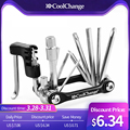 CoolChange 11 en 1 multifunción herramientas de reparación de bicicletas ciclismo cadena remache Extractor llave hexagonal de reparación de bicicleta herramienta Accesorios