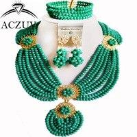 Indian Jewelry Set African Nigerian Wedding Beads Cyan Blue AN001