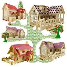 Diy 3d quebra-cabeça de madeira brinquedo do bebê criança aprendizagem precoce casa padrão construção presente para crianças brinquedo educativo casas