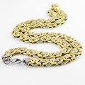 55 см Длина 11 мм Ширина Византийская Нержавеющей Стали Ожерелье МУЖСКИЕ Мальчики Цепи Ожерелье Золото Тон Мода Мужчины Ювелирные Изделия