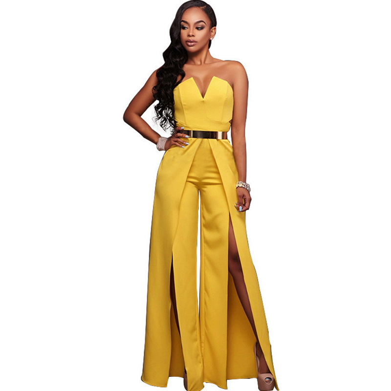 Women Runway Elegant Strapless Jumpsuit Sexy Off Shoulder Cut Out Split Wide Leg Jumpsuits and Rompers Birthday Club Overalls