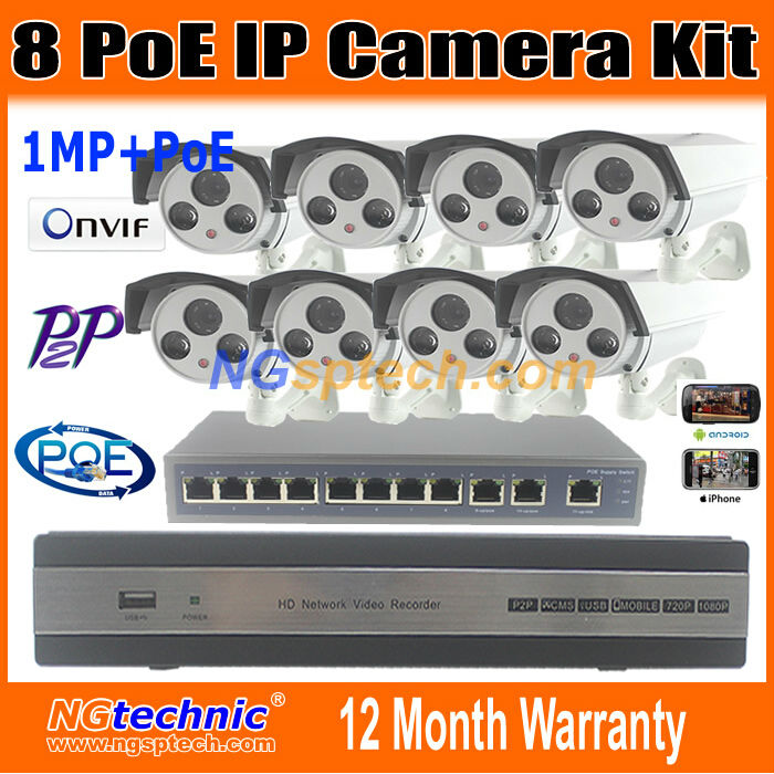New font b Security b font CCTV System 8CH POE NVR 8pcs waterproof 720p IP Camera