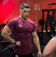 Fashion Men Sporting Short Sleeve Fitness T Shirt Bodybuilding Clothing Slim Fit Shirt Men Gyms Tight