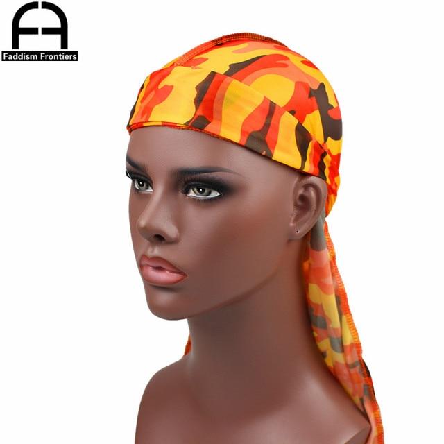 Fashion Camo Men's Silky Durags Turban Print Men Silk Durag Headwear Bandans Headband Hair Accessories Pirate Hat Waves Rags 2