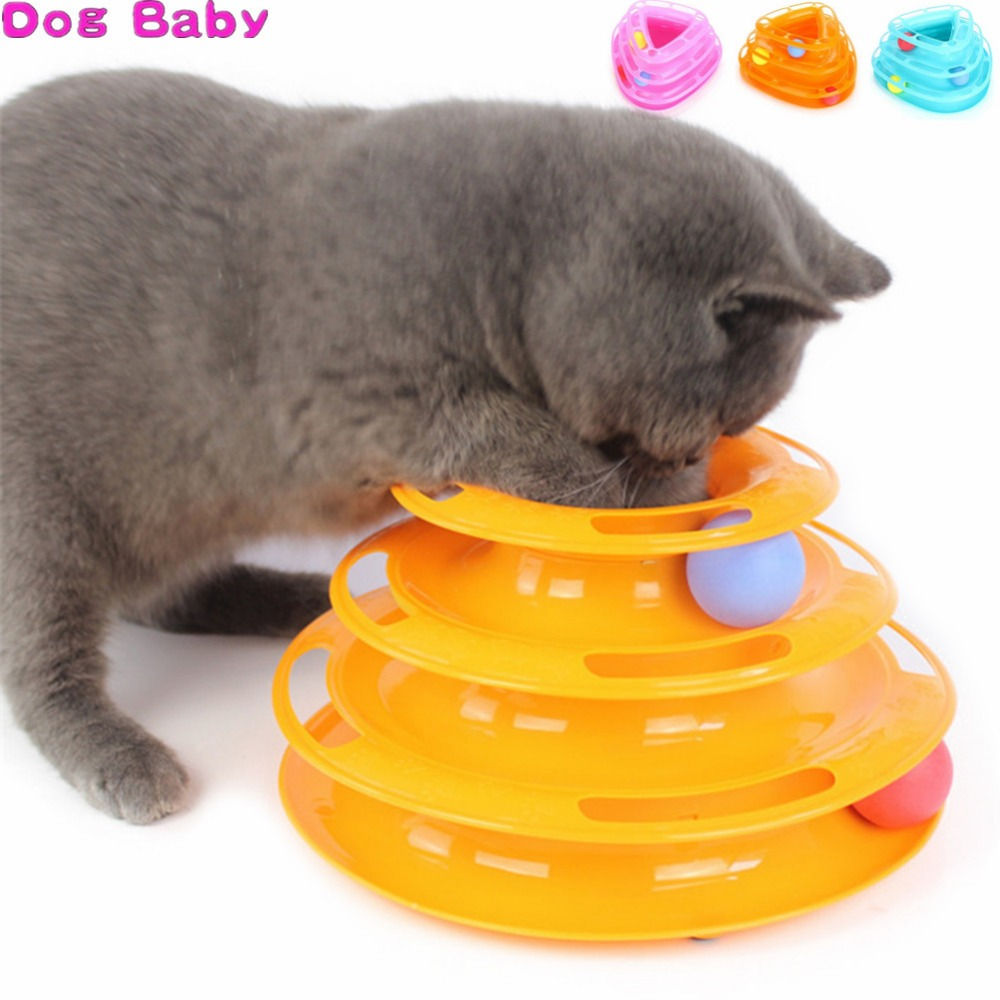 DOGBABY Crazy Ball Disk Cat Dog Toys Funny 3 Layers Interactive Pet Turntable Amusement Plate Triple Play Disc Toy For Kitten