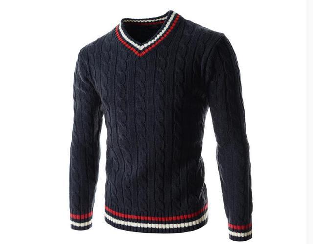 The new winter sweater collar men's slim V neck sweaters hot sale