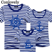 Family Look Matching Outfit T-Shirt (Anchor Boat) Short Sleeves Summer T Shirt Matches Tees Top Clothes