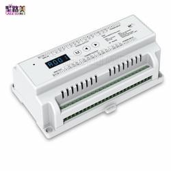 Decodificador DMX512 24 canales 24 canales 24 canales montado en Riel Din; entrada de DC5V-24V; salida de 3A * 24CH con pantalla para cinta LED RGB