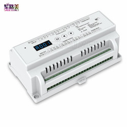 Din rail mounted constant voltage 24 Channel 24CH CV DMX512 Decoder;DC5V-24V input;;3A*24CH output with display for RGB LED Tape