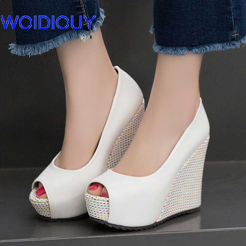 Handmade Open Toe Wedges Shoes for Women Platform High Heels Shoes Female Pumps Party Wedding Casual Women Shoes Pink 10cm