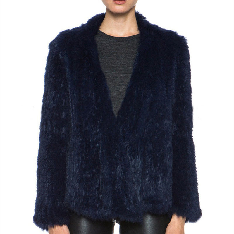 Factory Direct Supply Genuine Quality Hot rabbit fur jacket/ Real Rabbit Fur Hand Knitted women winter fur jackets DC18010102