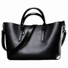 Модная черная женская кожаная сумка известного бренда, весенняя, повседневная, большая