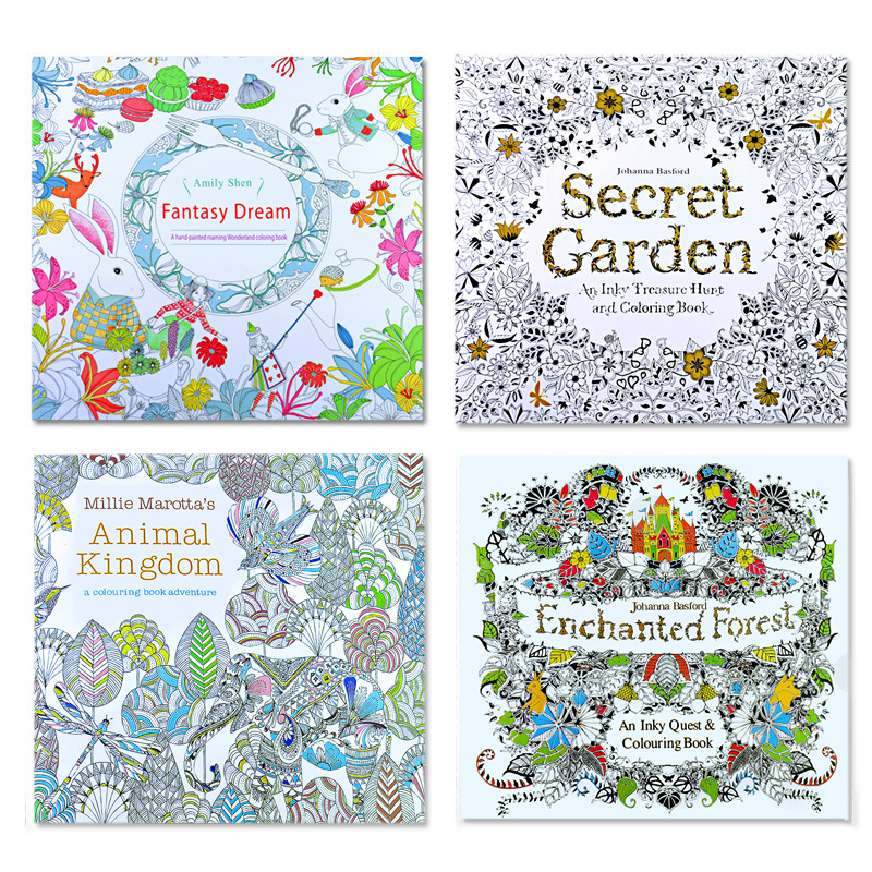 4 pcs ENGLISH coloring book, The Secret Garden, Enchanted Forest, Animal Kingdom, fantasy dream
