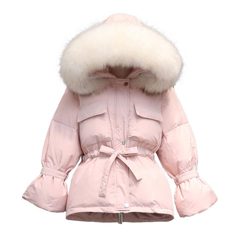 Real Raccoon Fur Collar 2019 New Winter   Coat   Women Long   Down   Parka Thick Warm   Down   Jacket White Duck   Down     Coat   Plus Size Outwear
