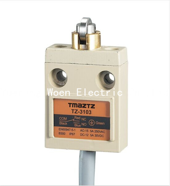 Tmaztz TZ-3103  IP67 4Wire Roller Lever Plunger Limit Switch SPDT NO+NC  Copper wire 3M limit switches plug in side plunger std 1nc 1no spdt