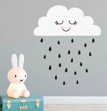 Cute Nursery Wall Sticker Cloud With Rain Drops Art Mural Babys Room Design Decor AY0129