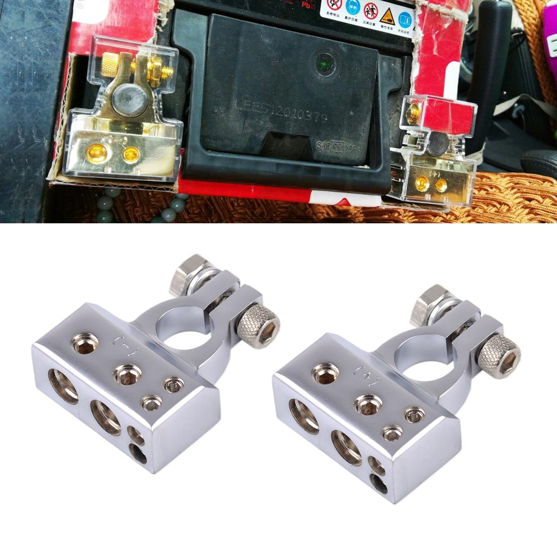 Dwcx 2pcs 12v silver 2 4 8 gauge awg positive negative car battery terminal clamp