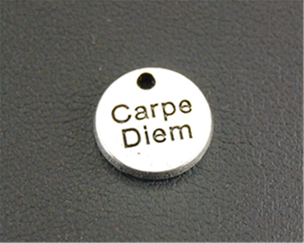 Free Shipping 10pcs Antique Silver carpe diem mini Round Charm jewelry findings components charms 10mm A1322 ...