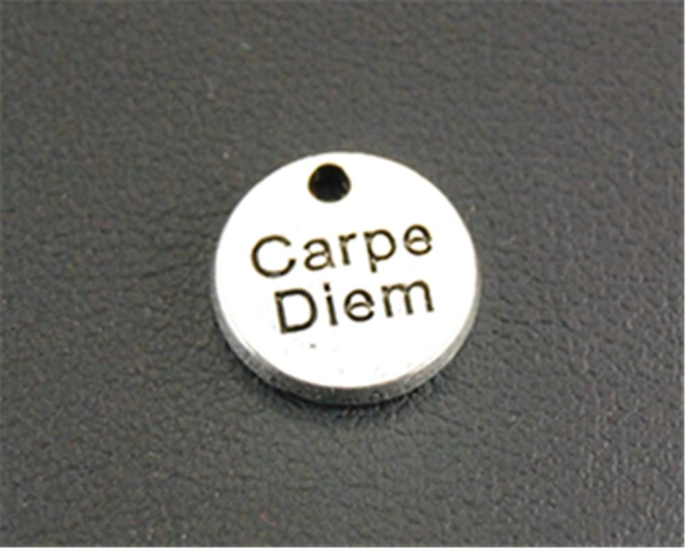 Free Shipping 10pcs Antique Silver carpe diem mini Round Charm jewelry findings componen ...