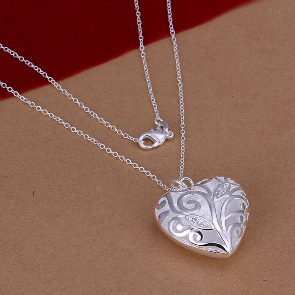 N224 top quality Silver Plated & Stamped 925 crystal stone hollow heart pendant fine jewerly necklace wholesale