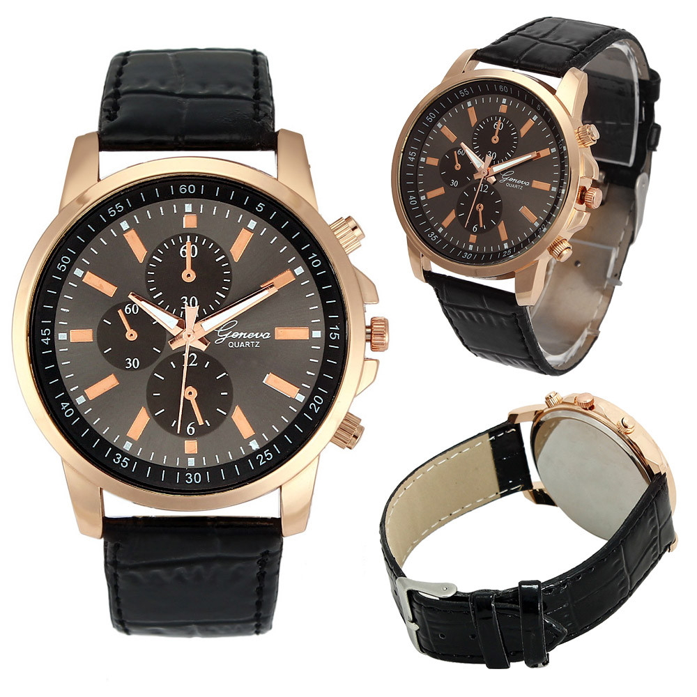 New fashion women men wrist watches casual faux leather three eyes dial quartz watch female for Casual watches
