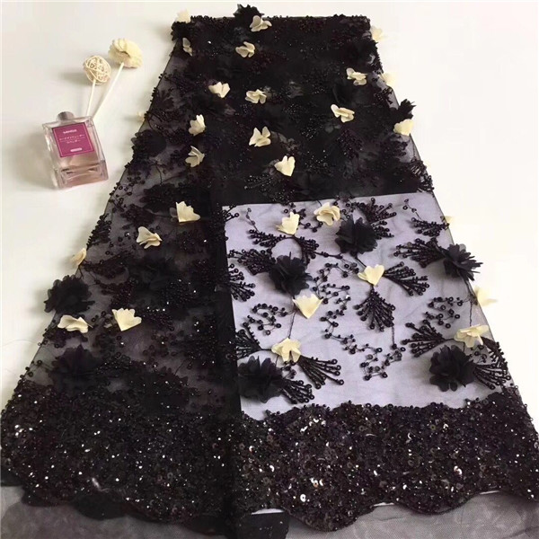 Hot selling evening tulle lace fabric with 3D flower french net cloth with sequins for lady dress PNZ850(5yards/lot)