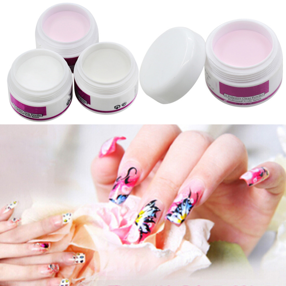 New Sparkle Clear Transparent Color Acrylic Crystal Powder Nail Tips DIY Beauty Tool-in Acrylic ...