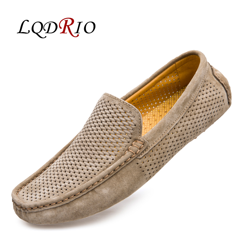 2017 New Men Summer Breathable Loafers Casual Boat Fashion Genuine Leather Slip On Moccasins Driving Shoes Hollow Out Men Flats  new men leather driving moccasins shoes british hollow men s slip on loafers summer flats men shoes casual comfy breathable