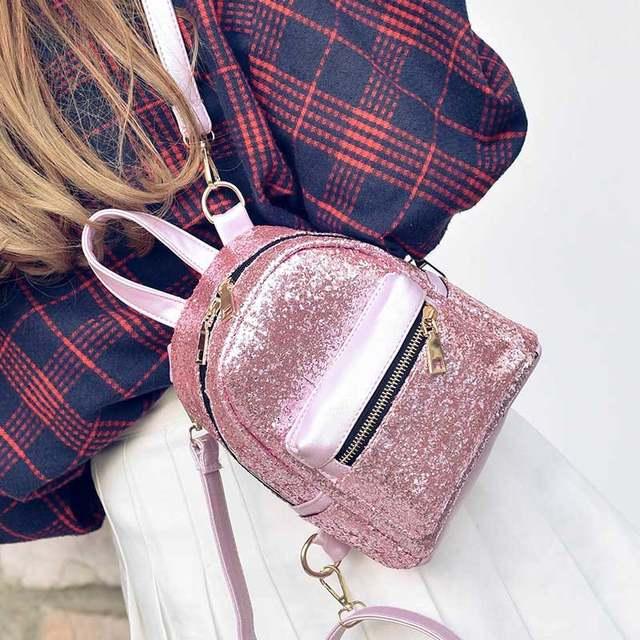 Women Glitter Backpack Small Leather Shoulder Bag Teenage Girls Black  Backpacks Fashion Shinny Rucksack Mini DayPack d2c713f83630