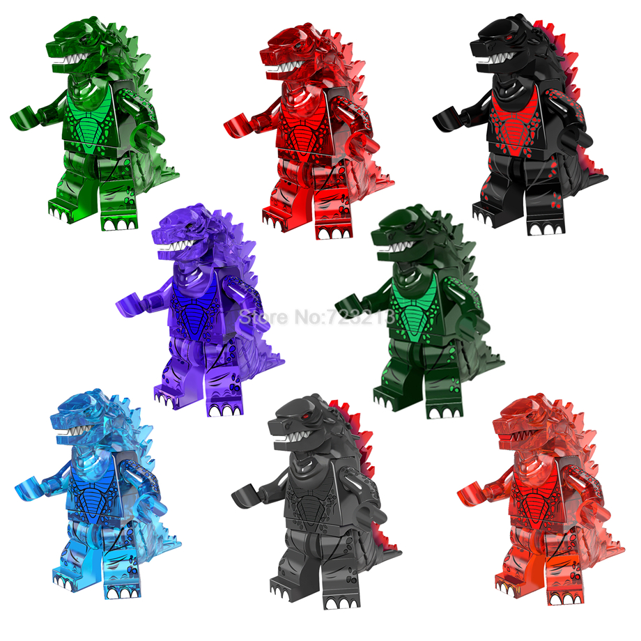 Single Sale Clear Ice Fire Godzilla Figure Cartoon Movie Building Blocks Set Model Kits Bricks Educational Toys for children loz diamond blocks dans blocks iblock fun building bricks movie alien figure action toys for children assembly model 9461 9462