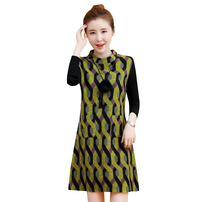 new autumn/winter backing cloth stitching knitted sleeve dress women casual plus size vestidos lady dresses M-4XL korean fashion