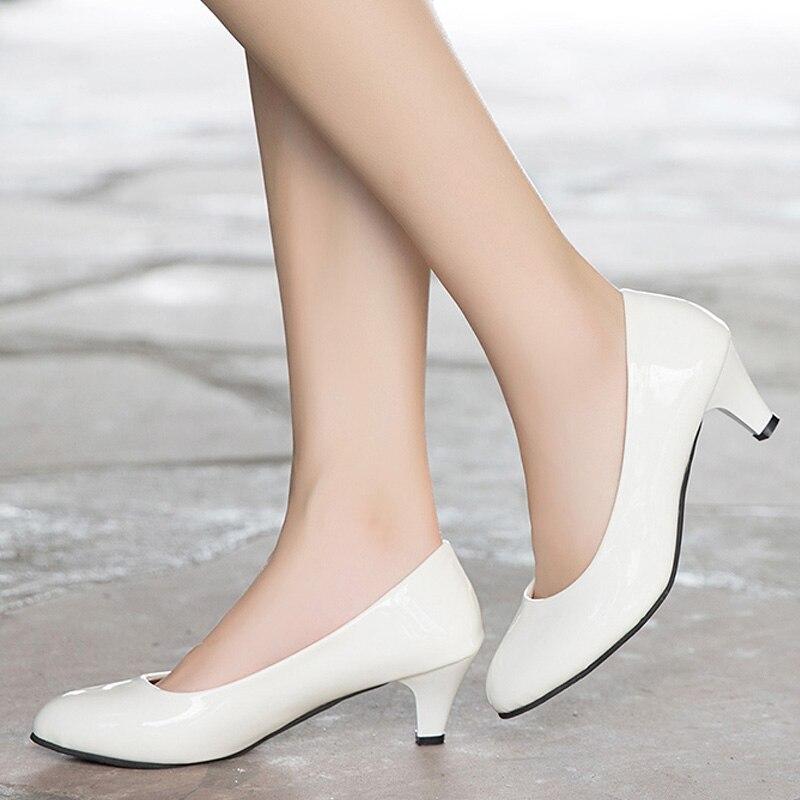 Moda Talón Elegante Señoras black red Med beige Otoño Zapatos Oficina Mujer Primavera Charol Mujeres Tamaño Bombas Calzado Más 2018 White qpx6tOw