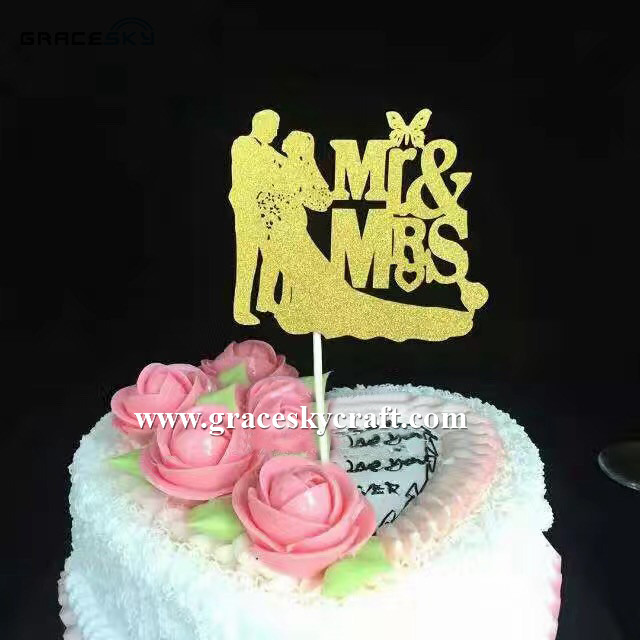 10pcs New custom Mr Mrs Glitter paper Wedding Cakes Toppers Party ...