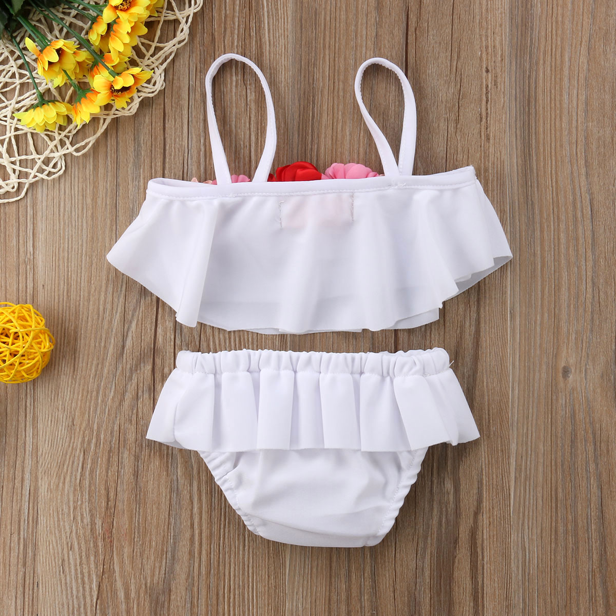 2Pcs Summer Kid Baby Girl Floral White Swimming Bikini Clothing Set Swimsuit Swimwear Bathing Suit