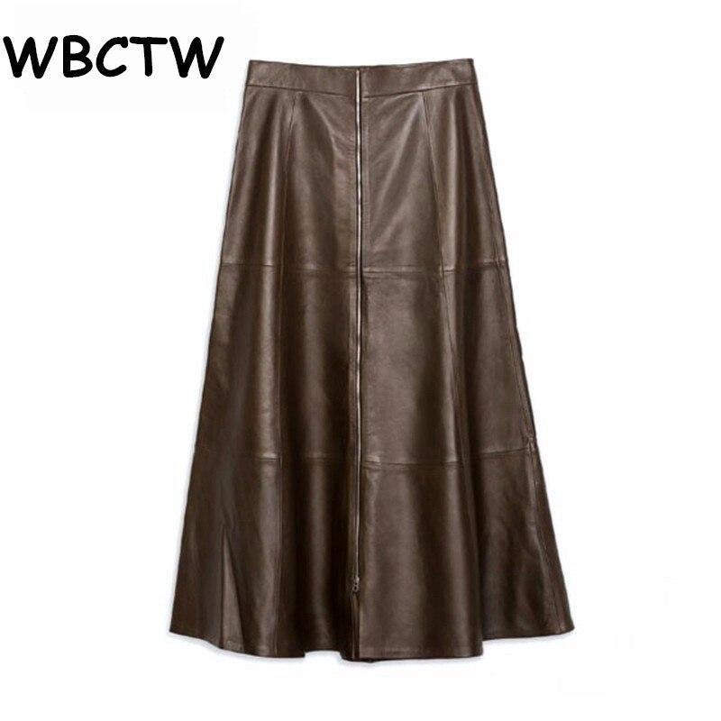 WBCTW A-Line Skirts XXS-10XL Plus Size High Waist Jupe Femme Solid Midi Length Summer Style Women PU Leather Skirts