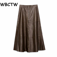 WBCTW A Line Skirts XXS 10XL Plus Size High Waist Jupe Femme Solid Midi Length Summer Style Women PU Leather Skirts