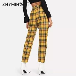 Image 2 - ZHYMIHRET Pantalon taille haute jaune à carreaux, Pantalon dété pour Femme, ample, fermeture éclair sur le côté, collection décontracté