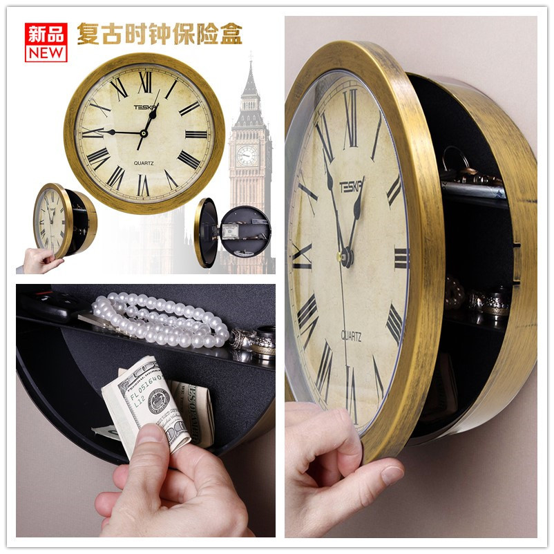 Wall Clock Safe Box Secret Stash Security Secret Key Hidden Safe Lock Money Compartment Cash Hide Case Storage Locker For Home