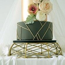 Bandeja de forma geométrica SWEETGO, herramientas de pastel vintage doradas/Plateadas para postre, mesa hueca, soporte para decoración de cestas y pasteles